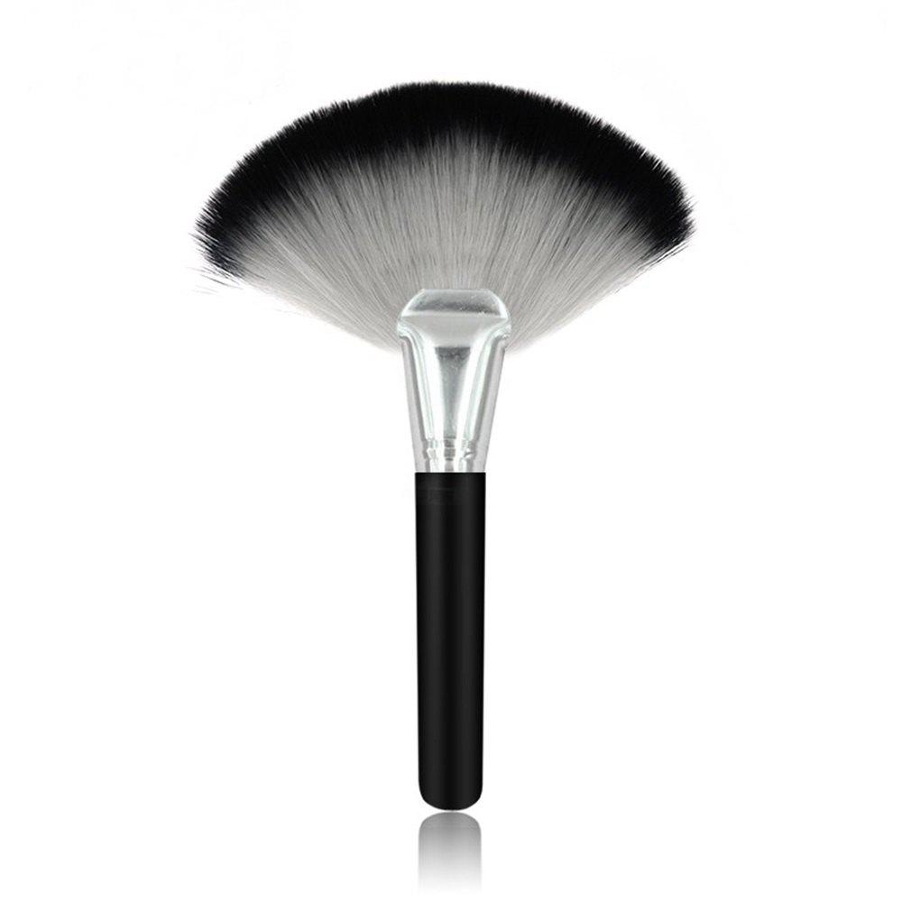 1 Piece BB Cream Powder Blush Blending Brush Highlighter Brush Contour Face Fan Shape Beauty - BLACK SILVER