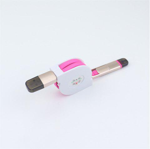 Retractable Charger Adapter Durable 2 in 1 Micro USB + 8 Pin Fast Sync Charging Cable Cord - ROSE RED