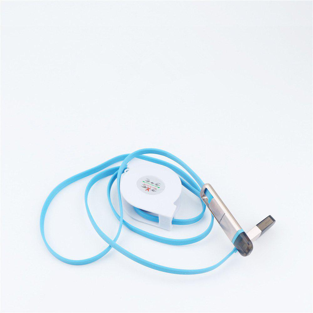 Retractable Charger Adapter Durable 2 in 1 Micro USB + 8 Pin Fast Sync Charging Cable Cord - BLUE