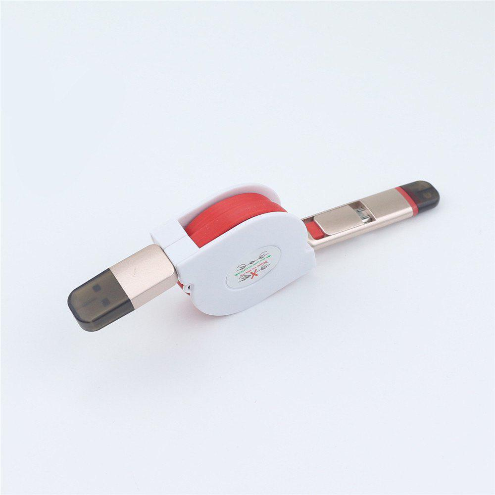 Retractable Charger Adapter Durable 2 in 1 Micro USB + 8 Pin Fast Sync Charging Cable Cord - RED