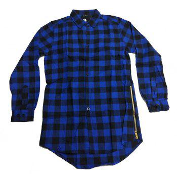 Comfortable Men'S Cotton Casual Long-Sleeved Shirt - BLUE XL
