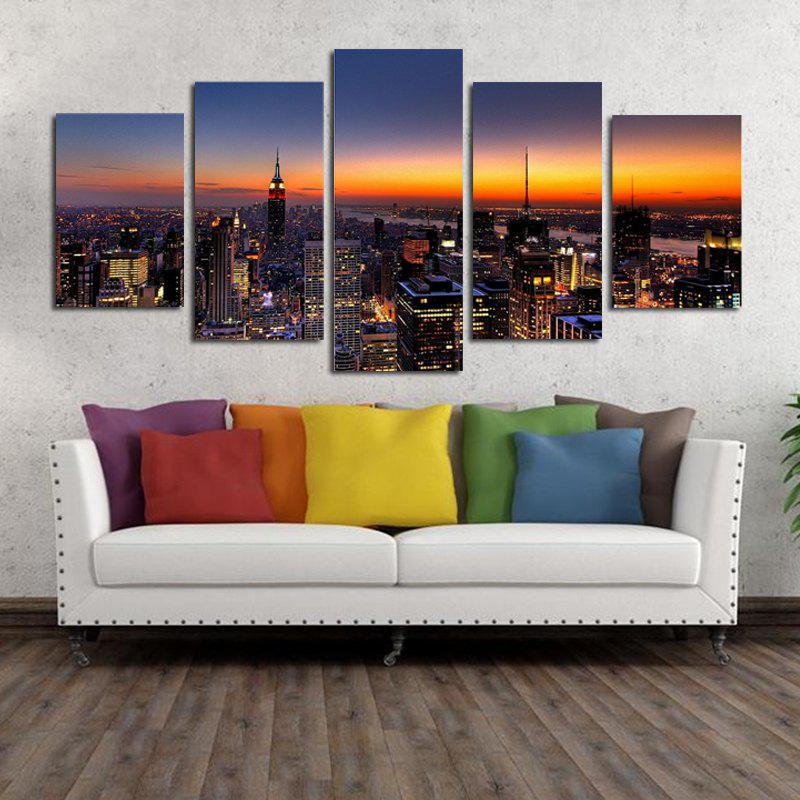 Unframed Canvas Prints of Modern City for Home Decoration 4pcs burning guitar pattern unframed wall art canvas paintings