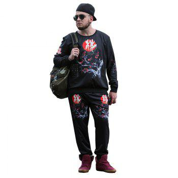 Autumn Large Size Men'S Round Neck Collar Hemp Plus Thickening Men'S T-Shirt Casual Long-Sleeved Sweatshirt PCW70027B - BLACK BLACK