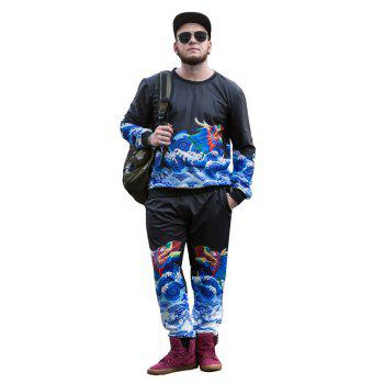 Long Teng Printing Large Size Men'S Long-Sleeved Sweatshirt Male Round Neck Collar Loose PCW70030C - BLACK 3XL