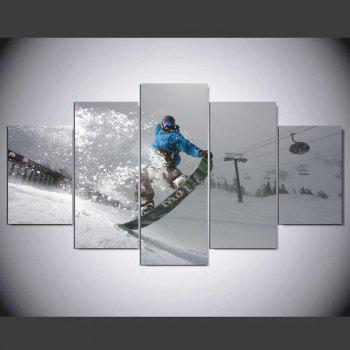 YSDAFEN 5 Panel HD Printed Snowy Ski Sled on Canvas Room Decoration - COLORMIX COLORMIX