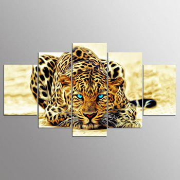 YSDAFEN 5 Panel Modern Hd Tiger with Blue Eyes Paintings for Living Room Wall Picture - COLORMIX COLORMIX