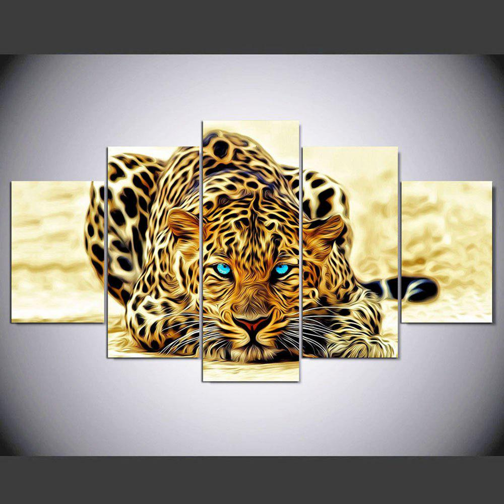 YSDAFEN 5 Panel Modern Hd Tiger with Blue Eyes Paintings for Living Room Wall Picture - COLORMIX 30X40CMX2+30X60CMX2+30X80CMX1(12X16INCHX2+12X24INC