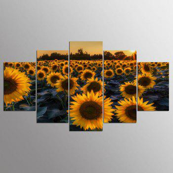 YSDAFEN 5 Panel HD Printed Sunflower Field In Evening Canvas Print Room Decor - COLORMIX COLORMIX