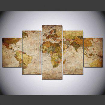 YSDAFEN 5 Panel Modern Hd World Map Art Print Canvas Art for Living Room Wall Picture - COLORMIX COLORMIX