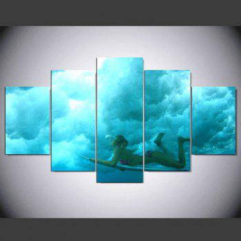 YSDAFEN 5 Panel HD Printed Skateboard Surfing Girl on Canvas Room Decoration - COLORMIX COLORMIX