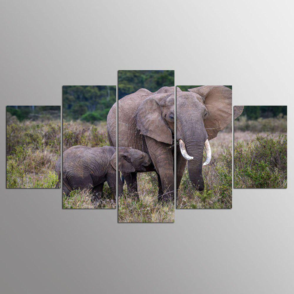 YSDAFEN 5 Panel Modern Africa Baby and Mother Elephant Canvas Art for Living Room Wall Picture - COLORMIX 30X40CMX2+30X60CMX2+30X80CMX1(12X16INCHX2+12X24INC