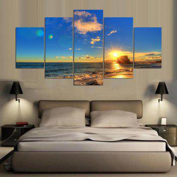 YSDAFEN 5 Panel Modern Beach Scenes Canvas Print Art for Living Room Wall Picture - COLORMIX COLORMIX