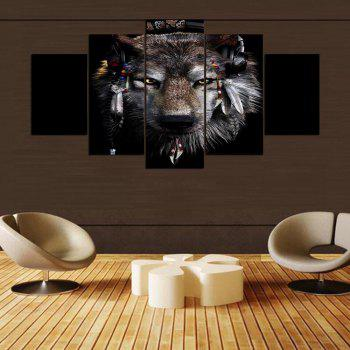 YSDAFEN 5 Panel Modern Awesome Wolf Canvas Art for Living Room Wall Picture - COLORMIX 30X40CMX2+30X60CMX2+30X80CMX1(12X16INCHX2+12X24INC