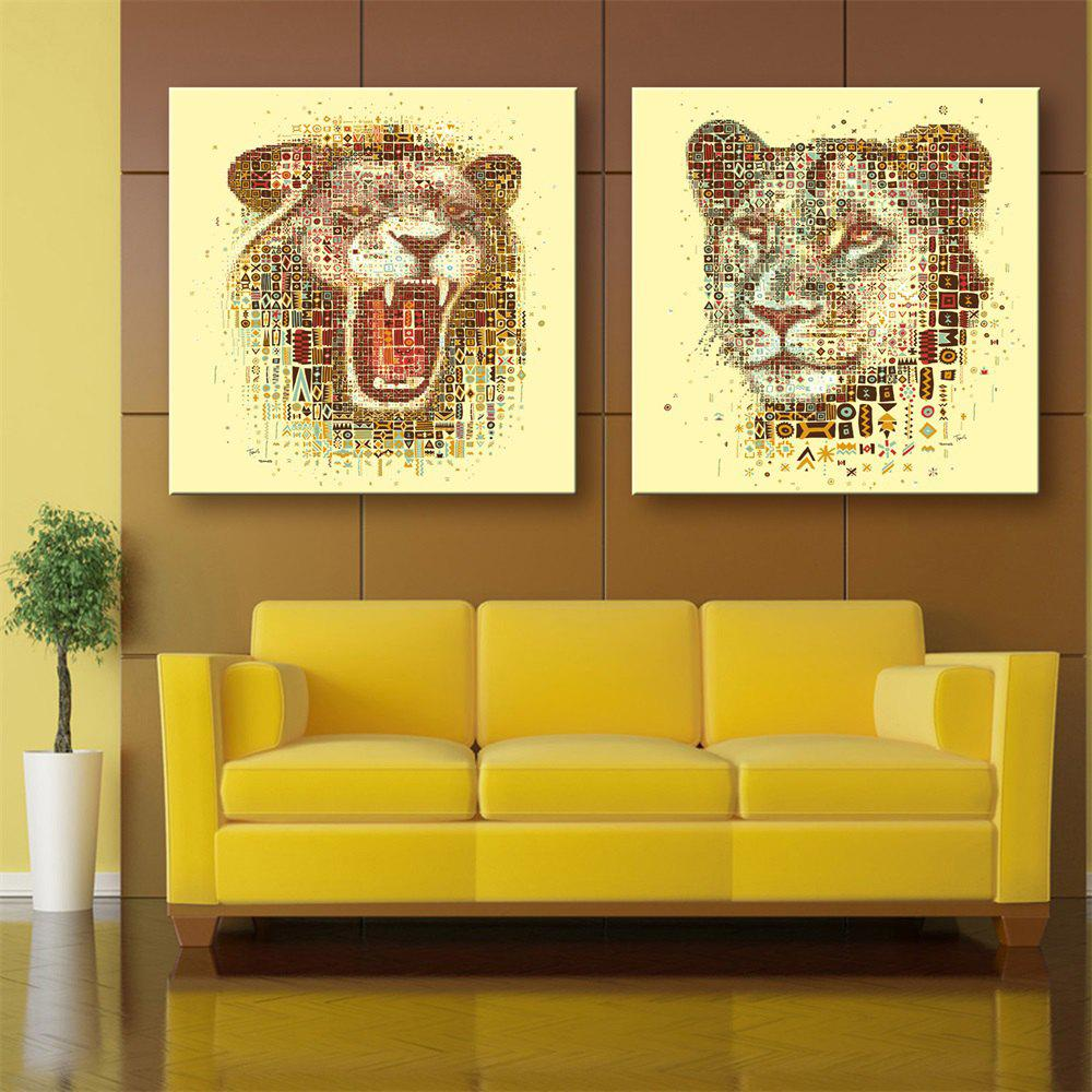 2018 Special Design Frameless Paintings Lion Print 2PCS YELLOW X ...