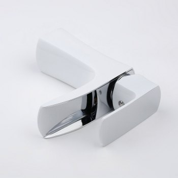 Chrome White Waterfall Bathroom Sink Lavatory Vessel Mixer Faucet - WHITE
