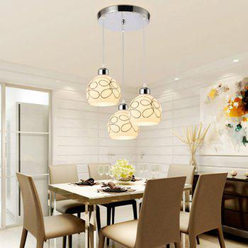 JUEJA Modern Pendant Light 3 Heads E27 Indoor Lighting for Dining Room Livingroom Bedroom Decoration Lamp - SILVER SILVER