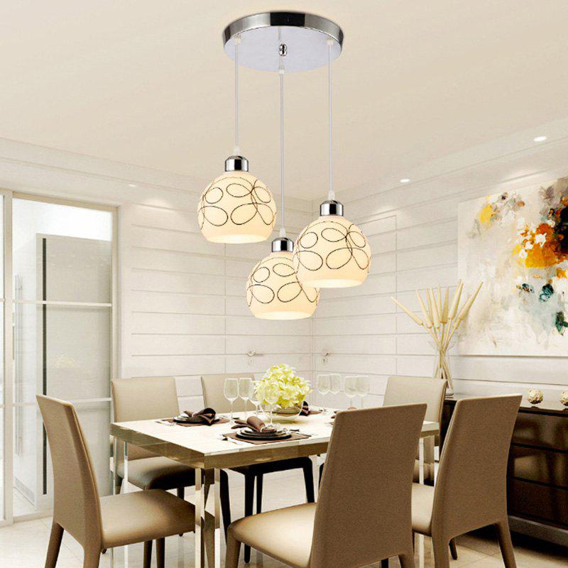JUEJA Modern Pendant Light 3 Heads E27 Indoor Lighting for Dining Room Livingroom Bedroom Decoration Lamp - SILVER 85-265V