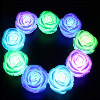 JUEJA LED Light Colorful Flashing Rose Flower Nightlight Wedding Party Lamp Decor Holiday Lighting - RGB COLOR