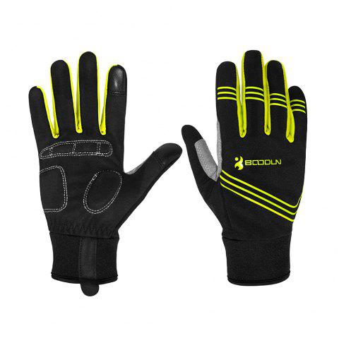 BOODUN Touch Screen Gloves Men Winter Cycling Gloves GEL Bike For Man Woman - YELLOW L