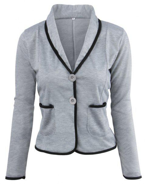 Women's Blazer Solid Color Button Slim Blazer - LIGHT GRAY M