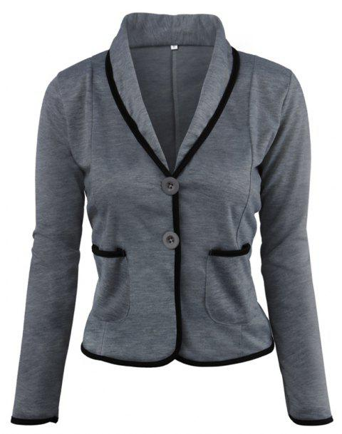 Women's Blazer Solid Color Button Slim Blazer - DEEP GRAY L