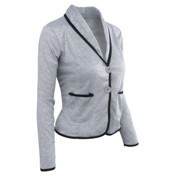 Women's Blazer Solid Color Button Slim Blazer - LIGHT GRAY LIGHT GRAY