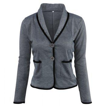 Women's Blazer Solid Color Button Slim Blazer - DEEP GRAY DEEP GRAY