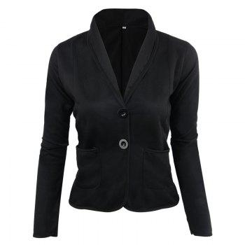 Women's Blazer Solid Color Button Slim Blazer - BLACK BLACK