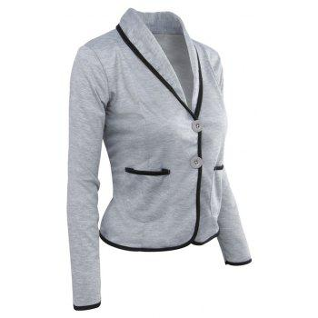 Women's Blazer Solid Color Button Slim Blazer - LIGHT GRAY S