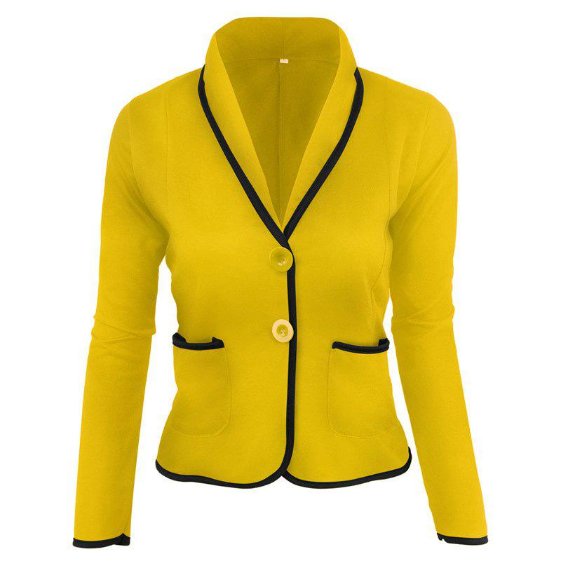 Women's Blazer Solid Color Button Slim Blazer - YELLOW 2XL