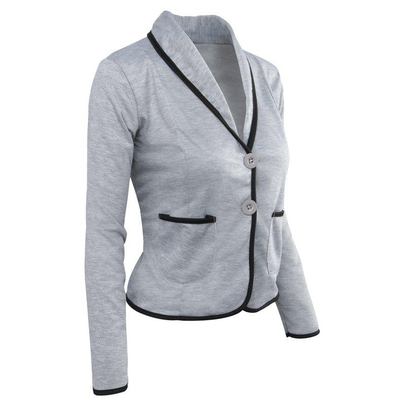 Women's Blazer Solid Color Button Slim Blazer - LIGHT GRAY 5XL