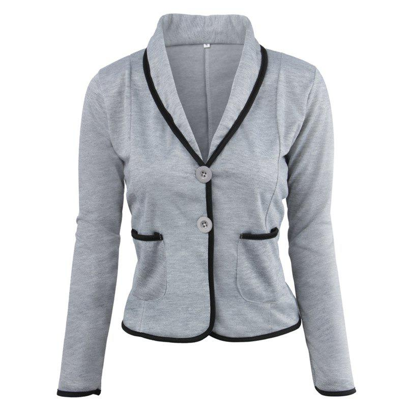 Women's Blazer Solid Color Button Slim Blazer - LIGHT GRAY 4XL