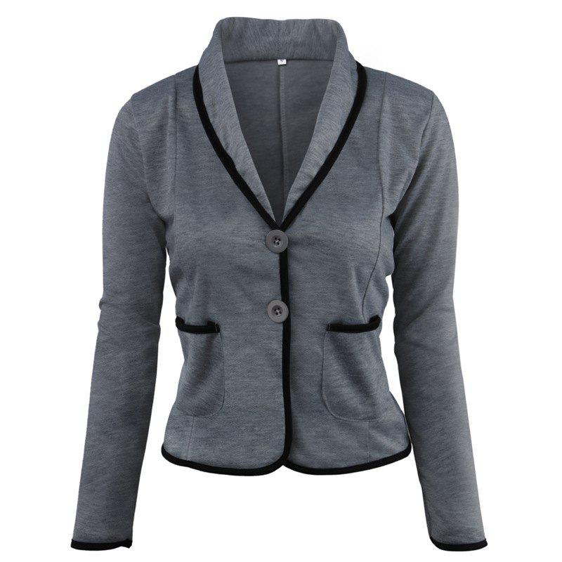 Women's Blazer Solid Color Button Slim Blazer - DEEP GRAY 2XL