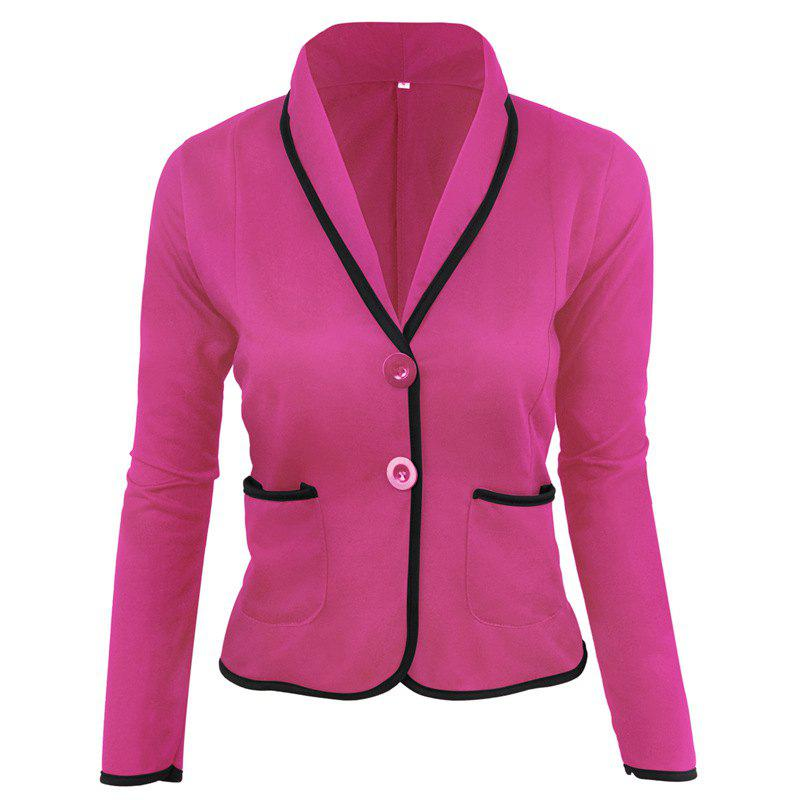 Women's Blazer Solid Color Button Slim Blazer - SANGRIA 6XL