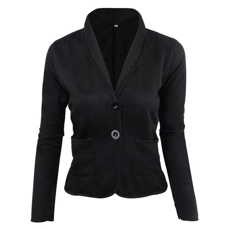 Women's Blazer Solid Color Button Slim Blazer - BLACK M