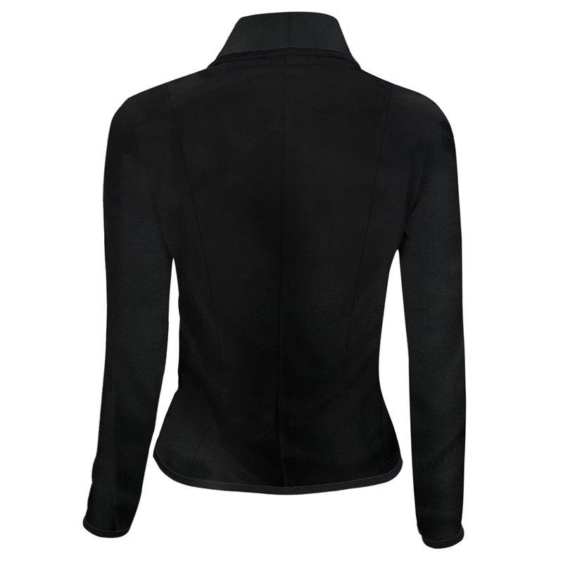 Women's Blazer Solid Color Button Slim Blazer - BLACK 2XL