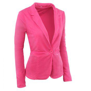 Women's Blazer OL Style Solid Slim Cappa Style Blazer - ROSE RED ROSE RED