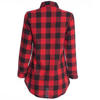 Women's T Shirt Long Sleeve High Low Plaid Top - RED XL