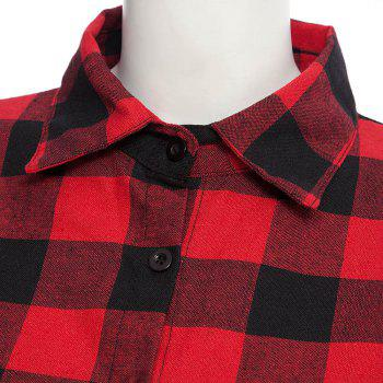 Women's T Shirt Long Sleeve High Low Plaid Top - RED M