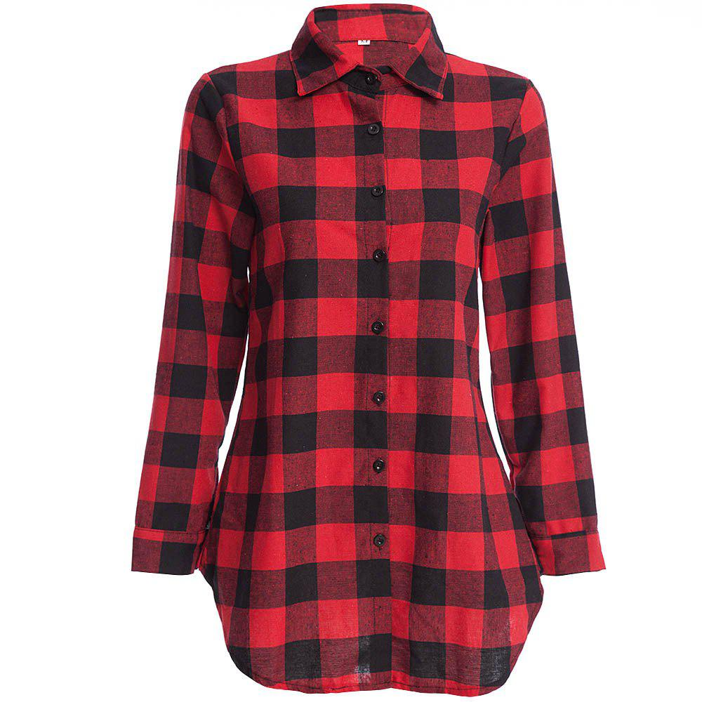 Women's T Shirt Long Sleeve High Low Plaid Top - RED L