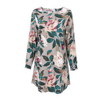 2017 Autumn Spring New Style Flower Printed Long Sleeve Roung  Collar Blouse Women  Long T-Shirts - GREEN GREEN
