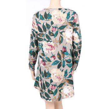 2017 Autumn Spring New Style Flower Printed Long Sleeve Roung  Collar Blouse Women  Long T-Shirts - GREEN L