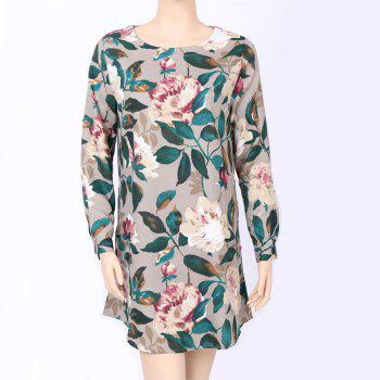 2017 Autumn Spring New Style Flower Printed Long Sleeve Roung  Collar Blouse Women  Long T-Shirts - GREEN S