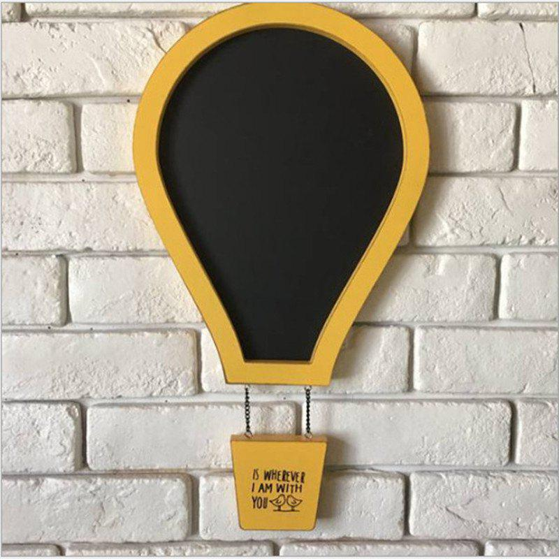 Message Board Romantic Solid Color Hot Air Balloon Shape Blackboard Wall Decor - YELLOW