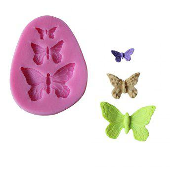 WS 0229 Butterfly Molding Sugar Cake Silica Gel Mold - PINK