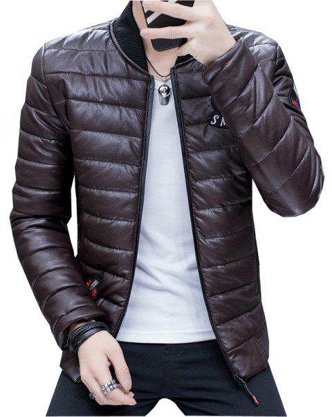 Men's Stylish Slim Fit  Leather Jacket - DEEP BROWN L