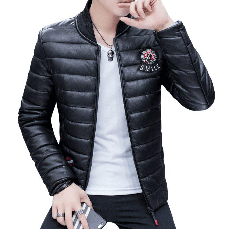 Men's Stylish Slim Fit  Leather Jacket - BLACK XL