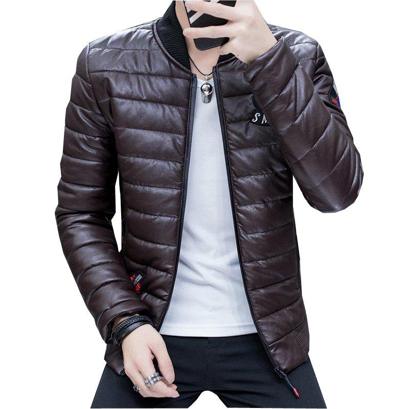 Men's Stylish Slim Fit  Leather Jacket - DEEP BROWN 4XL