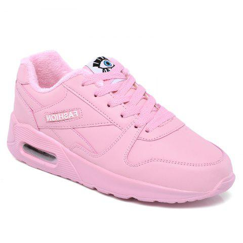 Stylish High Top and PU Leather Design Athletic Shoes for Women - PINK 37