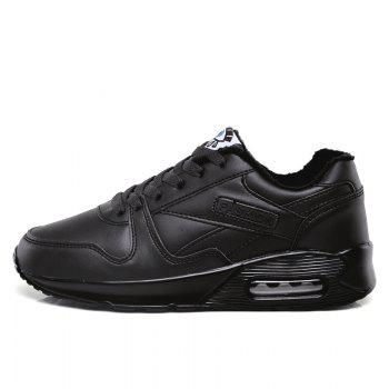 Stylish High Top and PU Leather Design Athletic Shoes for Women - BLACK 36